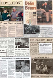 Newspaper articles collage of the Dean of Beans